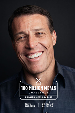 Tony Robbins photo and 100 Million Meals logo
